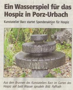 Grabmale Barz spendet Wasserspiel für Hospiz in Porz-Urbach
